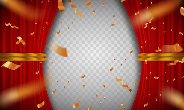 Affiche de cérémonie de coupe de ruban avec rideaux rouges. illustration vectorielle