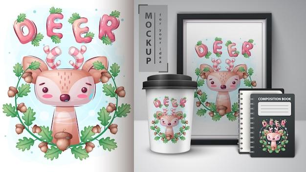 Affiche de cerf en feuille et merchandising