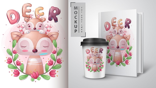 Affiche de cerf mignon et merchandising