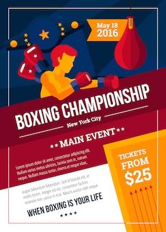 Affiche de championnat de boxe