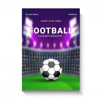 Affiche de championnat de football, conception de la bannière avec ballon de football sur le terrain de football de nuit retour