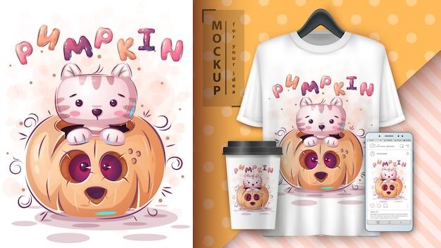 Affiche de chat en citrouille et merchandising