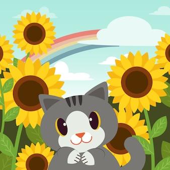 Affiche de chat dans le jardin
