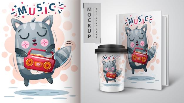 Affiche de chat de danse et merchandising