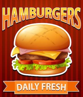 Affiche avec cheeseburgers