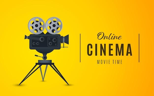 Affiche de cinéma en ligne ou illustration vectorielle d'affiche de film d'arrière-plan