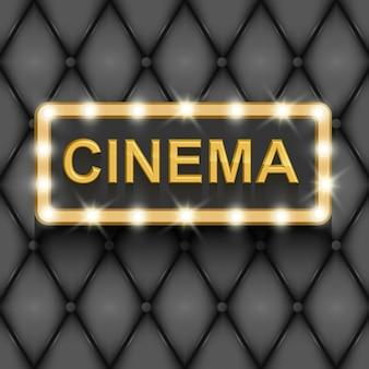 Affiche de cinématographie de film vintage avec texte or en 3d sur fond noir illustration