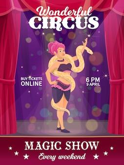 Affiche de cirque shapito, femme avec serpent sur chapiteau