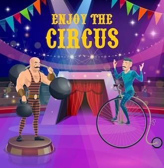 Affiche de cirque strongman et cycliste vintage