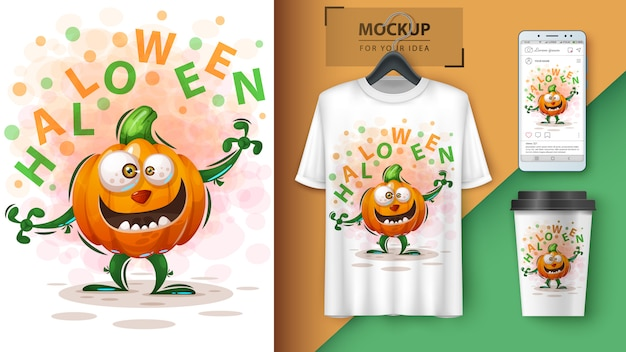 Affiche de citrouille d'hallooween et merchandising