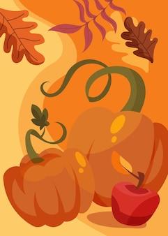 Affiche avec citrouille et pomme. conception de carte postale de jour de thanksgiving en style cartoon.