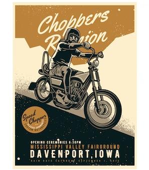 Affiche classique chopper motorcycle