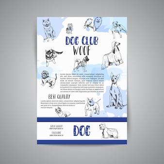 Affiche de club de chien avec des races de chiens dessinés à la main