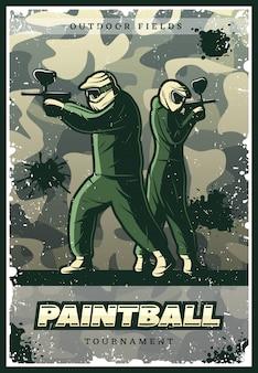 Affiche de club de paintball coloré vintage