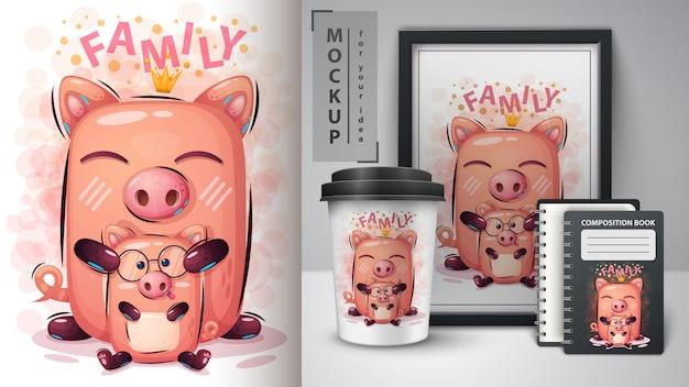 Affiche de cochon princesse et merchandising