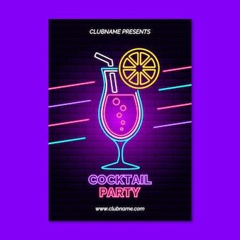 Affiche de cocktail au néon
