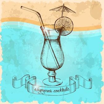 Une affiche avec un cocktail d'été avec une paille, un parapluie et de la lime