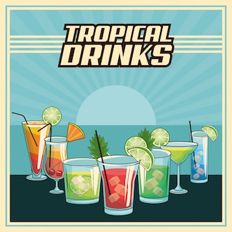 Affiche de cocktails tropicaux