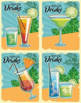 Affiche de cocktails tropicaux
