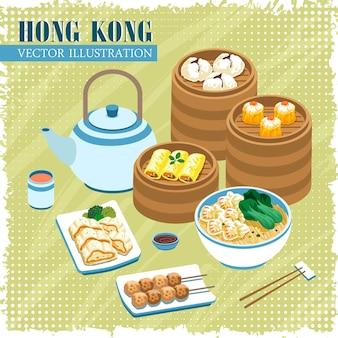 Affiche de la collection de délicieuses cuisines de hong kong dans un style plat