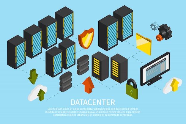 Affiche colorée de centre de données