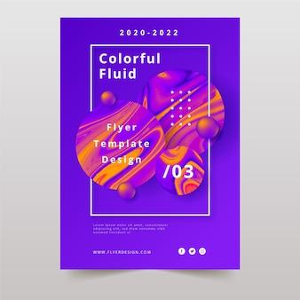Affiche colorée à effet fluide et gouttes d'huile abstraite