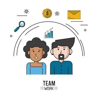 Affiche colorée de l'équipe de travail avec un couple de demi corps avec femme afro avec des cheveux bouclés et homme caucasien avec van dyke barbe et icônes loupe et pièce de monnaie et enveloppe vector illustration