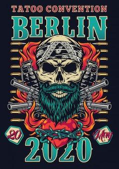 Affiche colorée de festival de tatouage vintage
