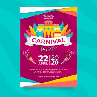 Affiche colorée de fête de carnaval au design plat