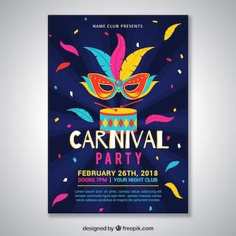 Affiche colorée de fête de carnaval
