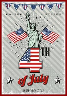 Affiche colorée de la fête de l'indépendance vintage