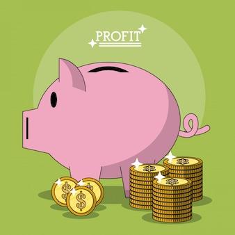 Affiche colorée avec la forme de boîte à monnaie de profit de porc et de pièces empilés