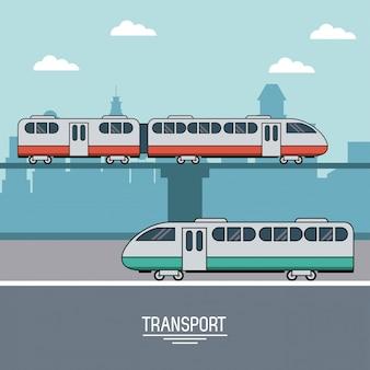 Affiche colorée de transport de train dans les chemins de fer