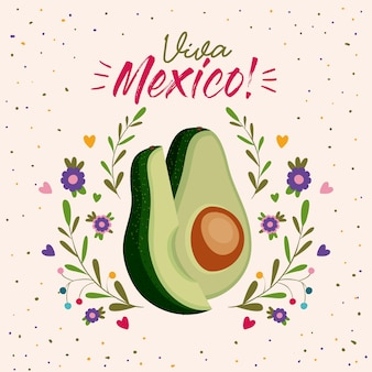 Affiche colorée de viva mexico avec avocat moyen et tranche