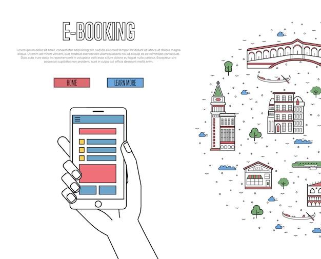 Affiche de commande de billets en ligne dans un style linéaire