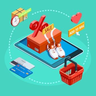 Affiche de commerce électronique isométrique de processus de magasinage en ligne