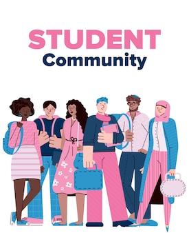 Affiche de la communauté étudiante avec un groupe d'amis de dessin animé divers debout ensemble