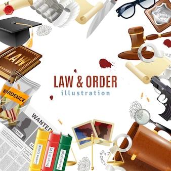Affiche de composition de cadre de loi et d'ordre