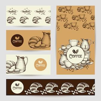 Affiche de composition café bannières vintage