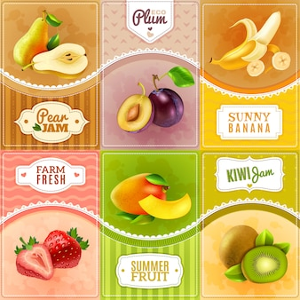 Affiche de composition fruits baies plat icônes