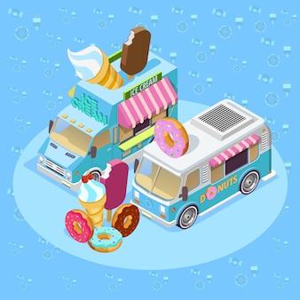 Affiche de composition isométrique food trucks