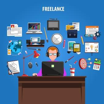 Affiche de composition des pictogrammes concept freelance