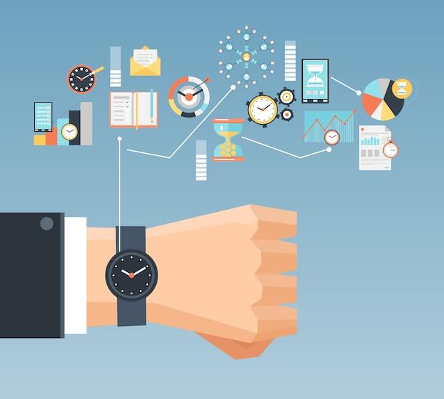 Affiche de composition à plat pour le concept de gestion du temps