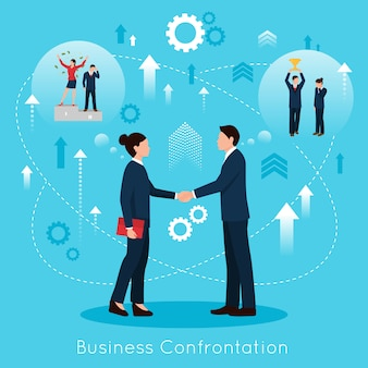 Affiche de composition plate pour une confrontation commerciale constructive