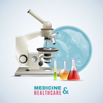 Affiche de composition plate de recherche médicale médicale