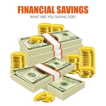 Affiche de composition publicitaire réaliste d'économies financières
