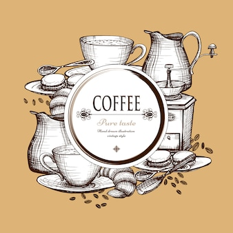 Affiche de composition de style vintage café