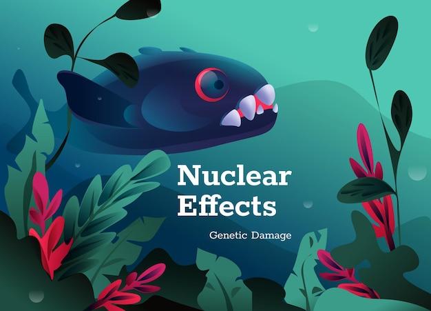 Affiche de concept d'effets nucléaires. dommages génétiques