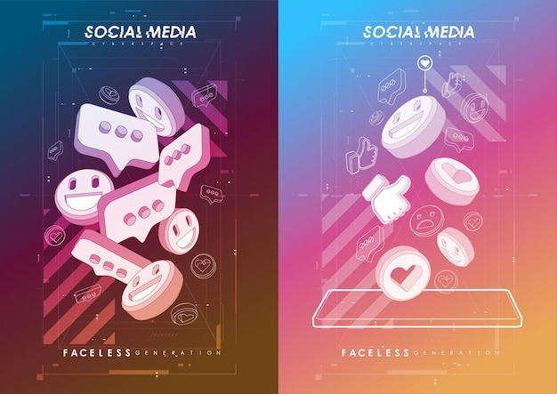 Affiche de concept de médias sociaux. bannière web de promotion moderne pour les applications mobiles de médias sociaux.