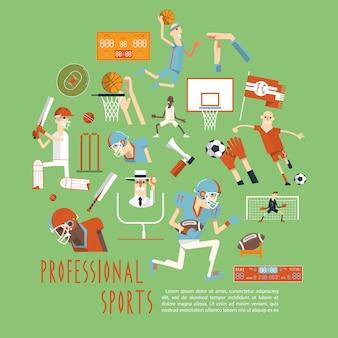 Affiche de concept de sports d'équipe compétitifs professionnels